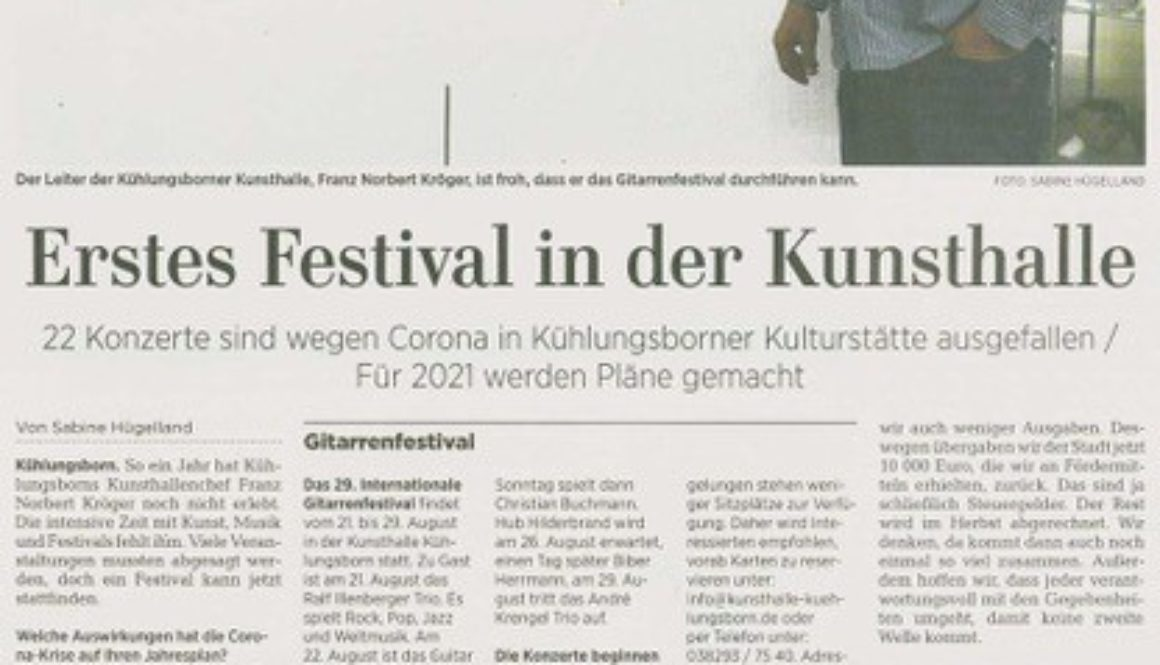 Ostsee-Zeitung 01.08.2020 - Gitarrenfestival
